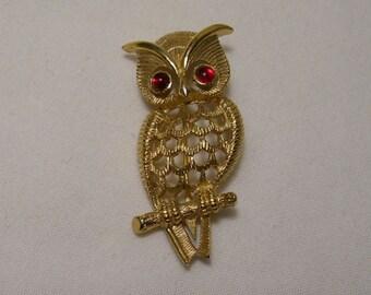 Gold Owl Vintage Brooch by Avon