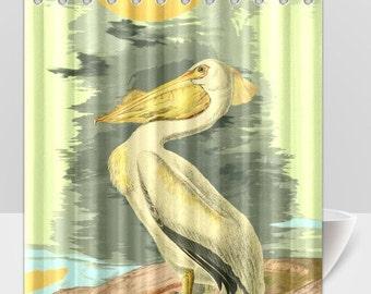 Pelican Vintage Bird Seaside Animal Shower Curtain