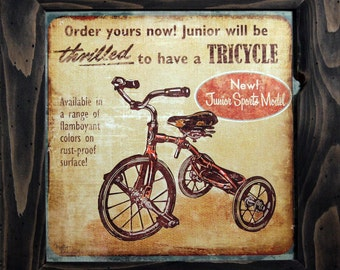 ON SALE!  Thilled to have a Tricycle framed print, Vintage Tricycle print, Antique Toy art, Framed wall decor, Antique Tricycle, Tricyle