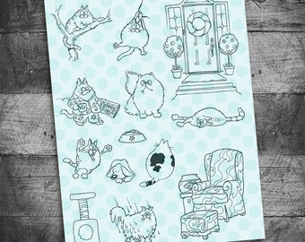 cat stamps, kitten stamps, kitty stamps, fireplace stamps, furniture stamps, siamese cat stamps, cat toy stamps, Starving Artistamps