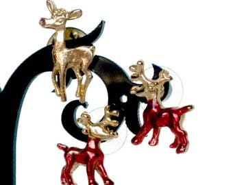 Reindeer Pin and Earrings, Rudolph Pin, Rudolph Earrings, Reindeer Pin, Reindeer Earrings, Rudolph Jewelry, Reindeer Jewelry, Deer Jewelry
