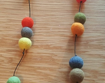 Multicoloured felt ball necklace. Pom pom necklace