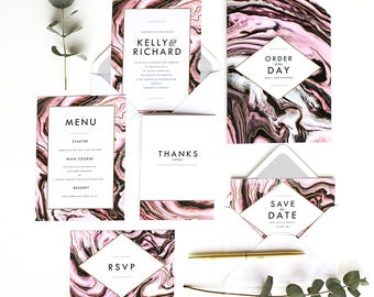 Printed Gold Foil Wedding Stationery Set 'Marble Luxe'
