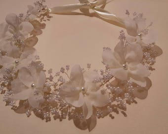 UK Handmade Flower-crown/wreath Ivory chiffon flowers handmade pearl bead gypsophila
