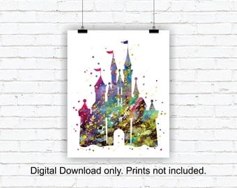 Disney silhouette, Castle Silhouette, Castle Watercolor Print, Nursery Printable, Girl Room Wall Art 8x10 and 11x14, INSTANT DOWNLOAD