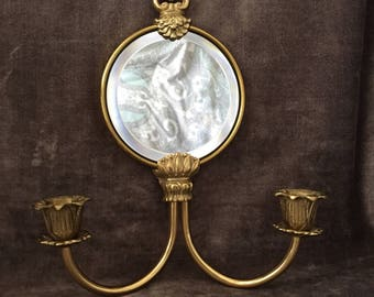 Vintage Brass mirror candle holder wall sconce