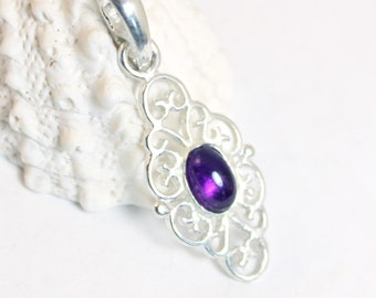 Amethyst Pendant, Amethyst, Amethyst Necklace, Sterling Silver, Silver Necklace, February Birthstone, Gemstone Pendant