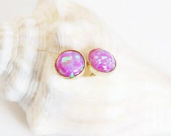 Opal Earrings, Pink Opal, Gold Plated Earrings, Stud Earrings, Pink Opal Earrings, Gold Earrings, Opal Jewelry, Small Earrings, Post Earring