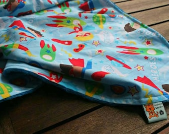 Large Superhero Blanket made with minky and cotton, suitable for toddlers up to teens