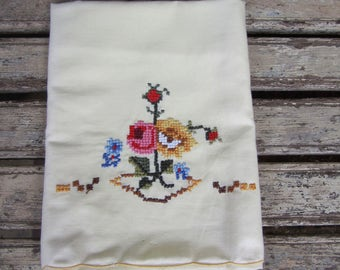 Vintage Yellow Embroidered Pillow Case - Flowers - Floral - Never Used