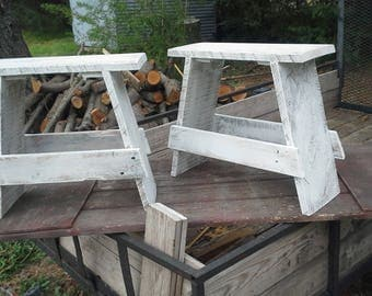 SALE, handmade furniture, whitewashed or natural stool,  step footstool, whitewashed, made with rough lumber, ruff cut  pallet wood
