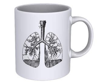 Anatomical Hand drawn of Human Lungs - Coffee Mug - Best Gift !!!