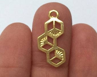 5 Honeycomb Charms Gold 23mm x 11mm - GC013