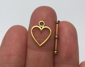 6 sets Heart Toggle Clasps Gold - TOG13
