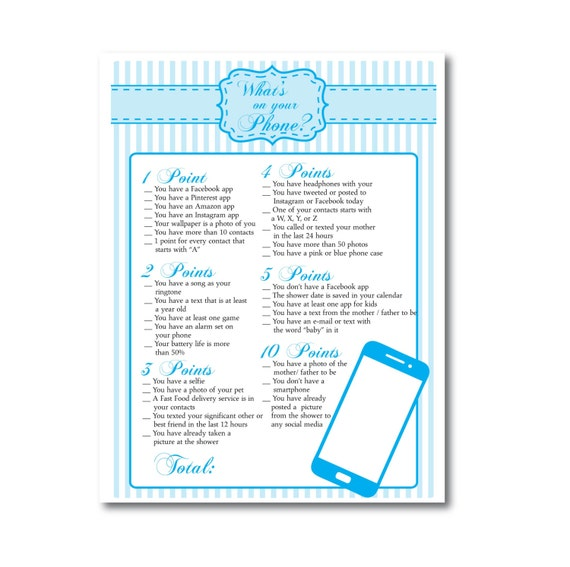 Whats on your Phone Blue Baby Boy Printable Shower Game Instant Download