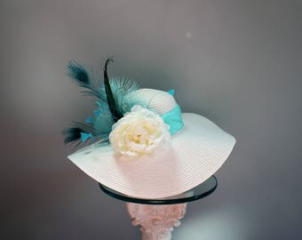 """White Kentucky Derby Hat-""""White and Teal Ideal"""""""