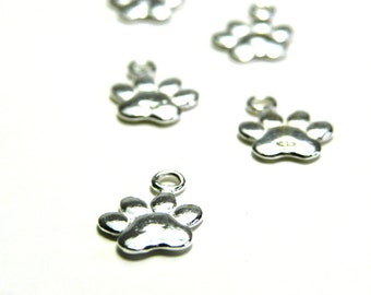 1 pc. Solid Sterling Silver 925 Dog Paw Charm Pendant 17 mm