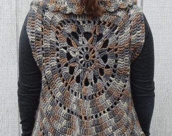 crochet sleeveless sweater vest, crochet shrug, crochet circle vest, wild flower jacket, boho cardigan, sleeveless cardigan