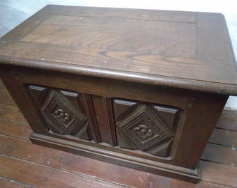 Antique oak French carved trunk or chest coffer