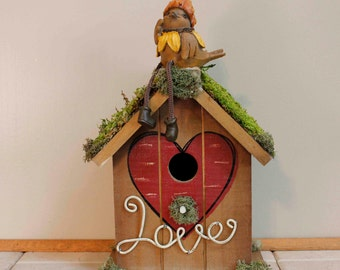 Love Wood Moss Birdhouse Fall Acorn Birdie Floral Arrangement Pam'sDeZines (Item 295)