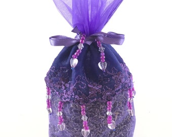 Lavender and Lace Beaded Sachet
