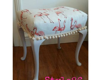 Upcycled Vintage Dressing table Stool flamingo's pom poms