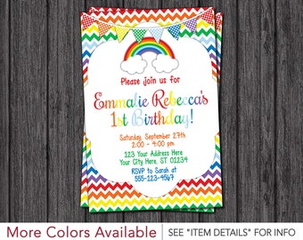 Rainbow Birthday Invitation - Chevron Rainbow Birthday Party Invitations