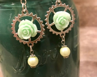 Resin floral and gear earrings steampunk mint green / industrial jewelry / cogs and gears