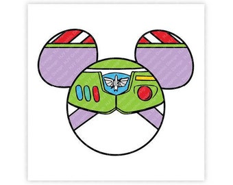Disney, Toy Story, Buzz Lightyear, Space, Ranger, Icon Mickey, Mouse Ears, Illustration, TShirt Design, Cut File, svg, pdf, eps, png, dxf