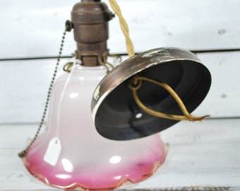 Mid Century Modern Pink Light Fixture , Blown Glass Globe , Cliping Lampshade