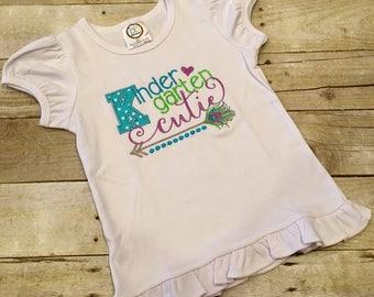 Kindergarten Cutie Shirt; Kindergarten; First day of school; Girls