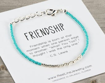 Friendship Bracelet Silver Stocking Stuffer, Handmade Gifts, Friend, Christmas Gift, Holiday Gift, Hanukkah Gift, Best Friends Bracelets
