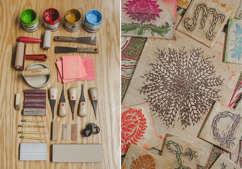Woodcut tools and woodblock