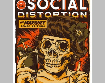 "Social Distortion ""Marquee"" Screen Printed Gig Poster"