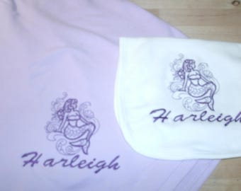 Mermaid Sketch Nautical Personalized Infant Toddler Baby Blanket & Bib Set Jungle Any color