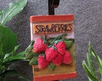 Strawberries outdoor garden marker