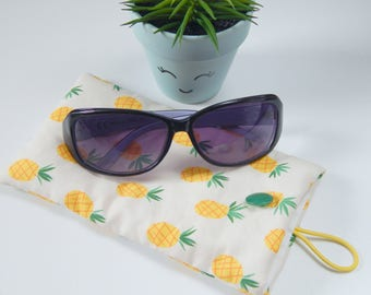 Handmade glasses case, pineapple sunglasses case, reading glasses case, spectacles cover, mothers day, teacher gift, summer accessories