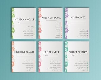 Happy Planner Pages LIFE PLANNER Printable Inserts Gift For Her Project Menu Budget Made to Fit Erin Condren Planner Instant Download
