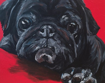 Black Pug dog art print from original painting,  Pug art print