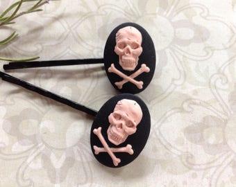 Pink On Black Skull And Crossbones Hair Clips