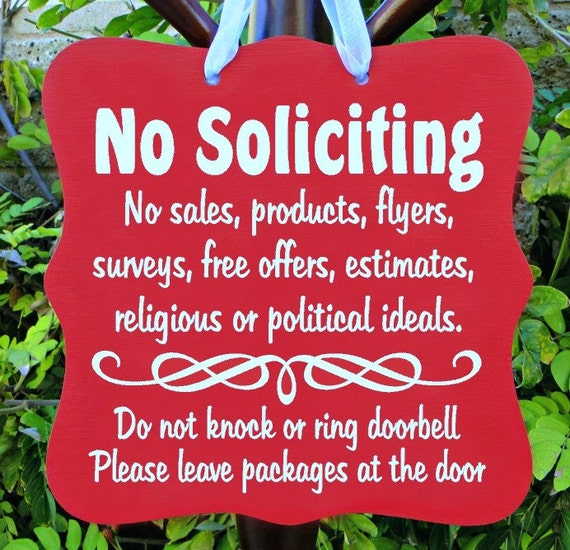 No Soliciting Sign, No Sales, Do Not Disturb, Front Door, Door Hanger, Home Decor, Custom Order, Wood Sign