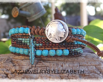 Turquoise Leather Wrap Bracelet/ Triple Wrap Bracelet Southwestern Style With Turquoise Feather And Seed Beads/ Native American Leather Wrap