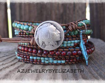 Native American Leather Wrap Bracelet Handmade With Red And Blue Picasso Beads/ Leather And Seed Bead Wrap Bracelet/ Beaded Bracelet. ***