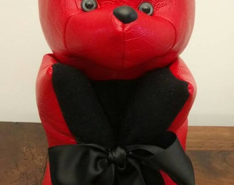 Bear pillow red and black faux leather Red