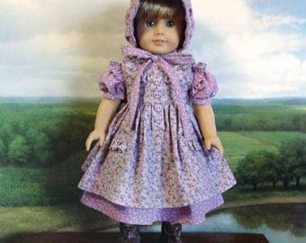 American Girl Purple and Lavender Prairie Dress Pinafore and Bonnet