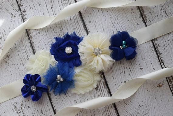 Sash, royal navy and ivory Sash , flower Belt, maternity sash, flower girl sash, bridal sash