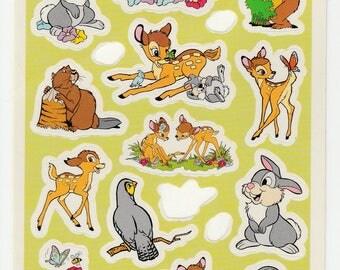 Vintage Disney Bambi Stickers Postcard Missing few sticker