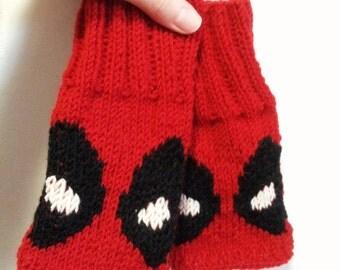 Knitted mittens \ mittens Deadpool \ fingerless gloves \ Marvel \ mitts handmade