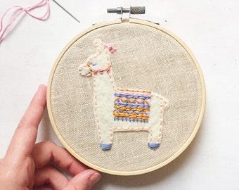 Llama Embroidery - llama embroidery hoop - embroidery hoop art - nursery hoop art
