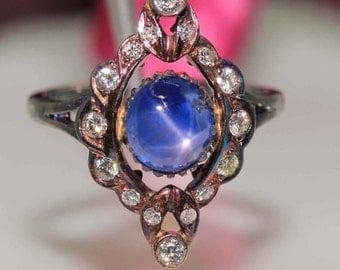 Antique 14k Black gold natural Diamond & dark Blue Star Sapphire ring band 2.53c